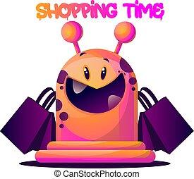 rózsaszínű, pantalló, bevásárlás, szörny, vektor, háttér, illustartion, fehér, karikatúra