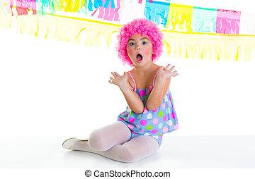 rózsaszínű, paróka, furcsa, bohóckodik, gyermek, buli lány, kifejezés, kölyök