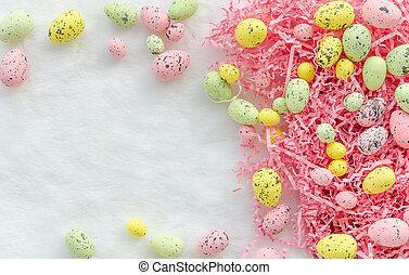 rózsaszínű, pasztell, frame., húsvét, hely, lágy, mockup., rózsa, háttér., befest, zöld, sárga, fehér, másol, tojás, boldog