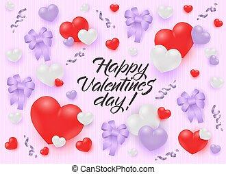 rózsaszínű, pasztell, gratuláció, gyeplő, valentines, háttér., hajóorr, piros, transzparens, nap, boldog