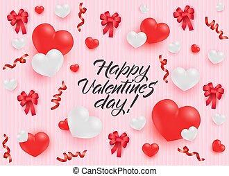 rózsaszínű, pasztell, gratuláció, valentines, háttér., hajóorr, piros, transzparens, nap, boldog