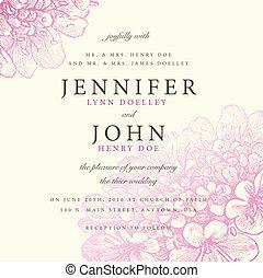 rózsaszínű, pasztell, keret, vektor, virágos