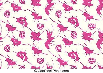 rózsaszínű, pattern., seamless, splashes., vektor, tinta