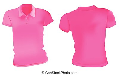 rózsaszínű, polo ing, sablon, nők