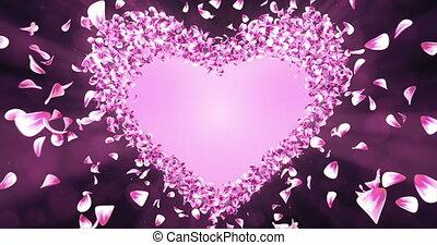 rózsaszínű rózsa, sakura, virág szirom, alatt, szív alakzat,...