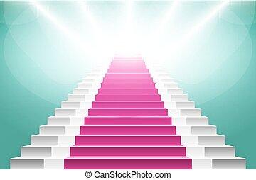 rózsaszínű,  render, lépcsőház, nagy, szőnyeg, döntés, 3