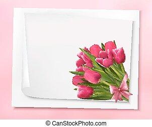 rózsaszínű, ribbon., ünnep, csokor, ábra, íj, vektor, háttér, menstruáció