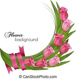 rózsaszínű, ribbon., ünnep, csokor, íj, háttér, menstruáció