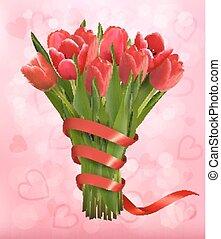 rózsaszínű, ribbon., ünnep, illustration., valentine's, csokor, íj, vektor, háttér, menstruáció