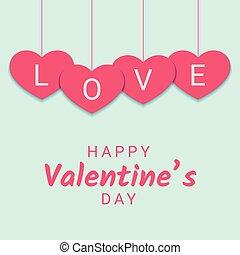 rózsaszínű, ribbon., gratuláció, szív, aláír, függő, kedves, transzparens, nap