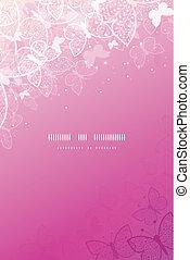 rózsaszínű, sablon, függőleges, varázslatos, pillangók,...