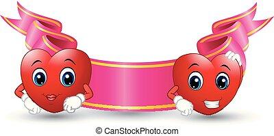 rózsaszínű, szín, két, karikatúra, piros háttér, piros, fehér, mosolygós, szalag
