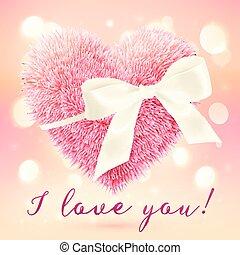 rózsaszínű, szív, bolyhos, íj, köszönés, fehér, kártya