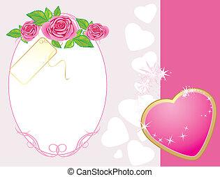 rózsaszínű, szív, csokor, agancsrózsák