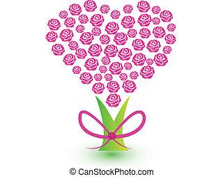 rózsaszínű, szív, fa, agancsrózsák, jel, szalag