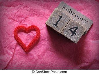 rózsaszínű, szív, február, elvág, fából való, 14, dolgozat, naptár, piros