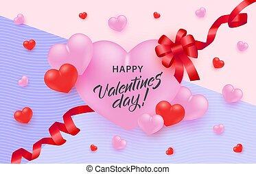 rózsaszínű, szív, gratuláció, nagy, köszönés, bow., kedves, piros, aláír, transzparens, nap, szalag, boldog