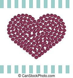 rózsaszínű, szív, kártya, agancsrózsák