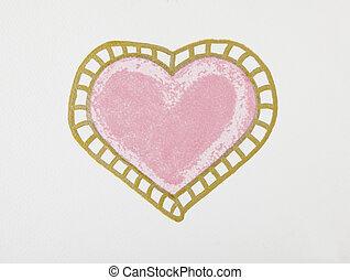 rózsaszínű, szív, nagy, felett, háttér., fehér, festmény