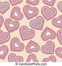 rózsaszínű, szív, süti, szeret, motívum, seamless