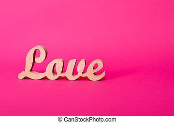 rózsaszínű, szó, valentine's, fából való, szeret, hely, text., lovestory, decor., háttér., dolgozat, esküvő, irodalomtudomány, vagy, nap
