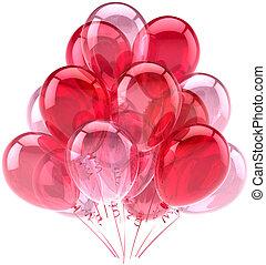 rózsaszínű, születésnap, léggömb, romantikus