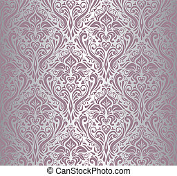 rózsaszínű, &, szüret, tapéta, ezüst