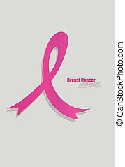 rózsaszínű szalag, illustration., rák, concept., vektor,...