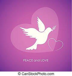 rózsaszínű, szeret, béke, háttér, fehér galamb