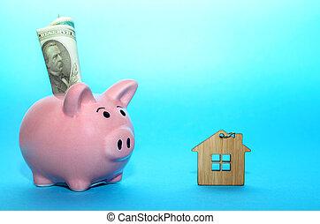 rózsaszínű, tényleges, fogalom, megmentés, birtok, deposits., épület, falánk, asztal., bevételek, part, tinted.