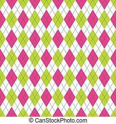 rózsaszínű, tarka, motívum, argyle, pattern., seamless, color., vektor, zöld