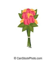 rózsaszínű, tehetség, ünnepies, csokor, zöld, sárga tulipán, zöld, bekötött, díszes, menstruáció, szalag