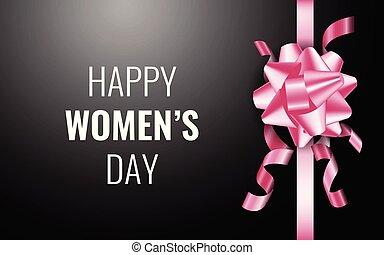 rózsaszínű, tehetség, women's, day., black háttér, íj, boldog