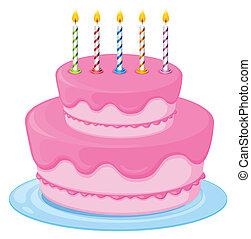 rózsaszínű, torta