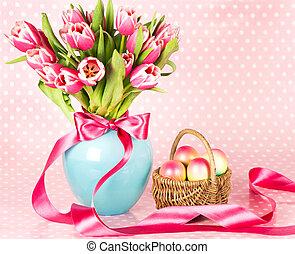 rózsaszínű, tulipánok, és, easter ikra