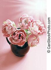 rózsaszínű, tulipánok, befest, kifakult, váza