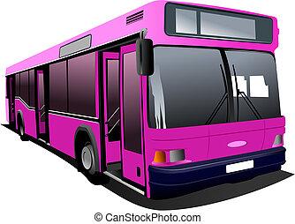 rózsaszínű, város, vektor, bus., coach., illus