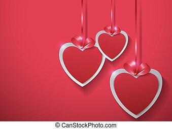 rózsaszínű, valentines, day., dolgozat, háttér, függő, piros, szalag