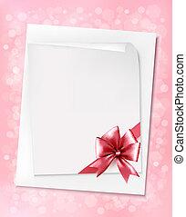 rózsaszínű, vektor, ív, illustration., bow., dolgozat, háttér, ünnep