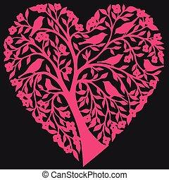 rózsaszínű, vektor, szív, állhatatos
