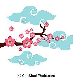 rózsaszínű virág, elágazik