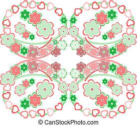 rózsaszínű virág, motívum, seamless, retro, háttér