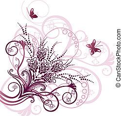 rózsaszínű, virágos, sarok, tervezés elem