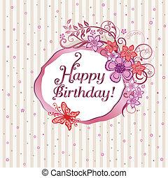 rózsaszínű, virágos, születésnap kártya, boldog
