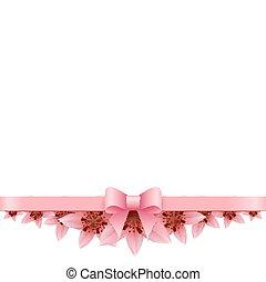 rózsaszín liliom, íj, háttér, fehér, transzparens
