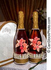 rózsaszín pezsgő, hajlandó, helyett, egy, ünneplés