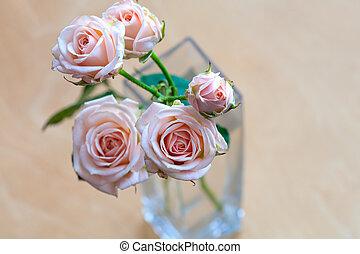 rózsaszín rózsa, alatt, egy, váza, képben látható, egy, wooden asztal