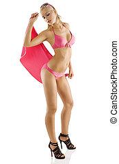 rózsaszín szőr, bikini, leány, nedves