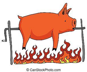 rôti, broche, cochon