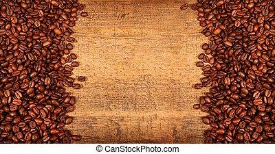 rôti, grains café, sur, rustique, bois